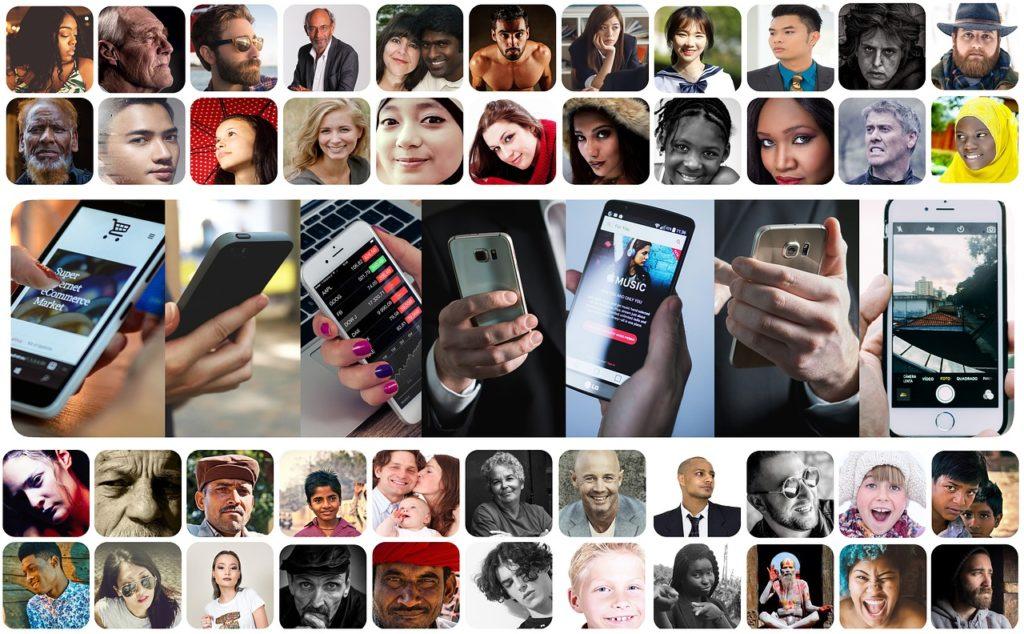 foto's mensen en telefoons